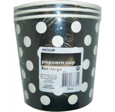 Black Polka Dot Popcorn Bucket