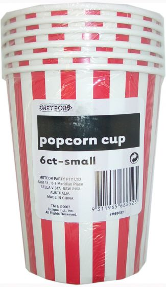 Apple Red Striped Popcorn Cups