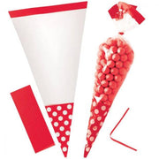 Apple Red Polka Dot Cone Cello Bags
