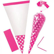 Bright Pink Polka Dot Cone Cello Bags