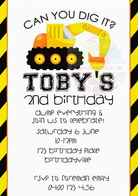 Can You Dig It Personalised Invite