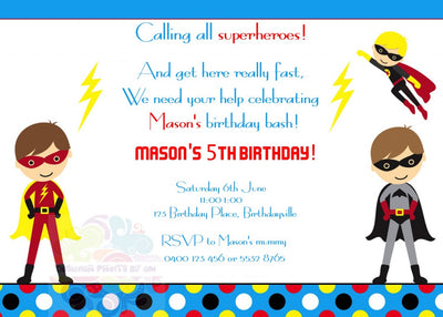 Caped Crusaders Personalised Invite