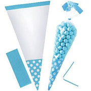 Carribean Blue Polka Dot Cone Cello Bags