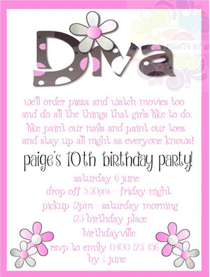 Diva Personalised Invite