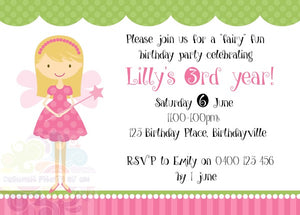 Fairy Party Personalised Invite
