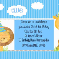 Giraffe Blue Personalised Invite