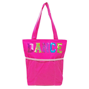 Dance Tote Bag with Mesh Pocket Hot Pink