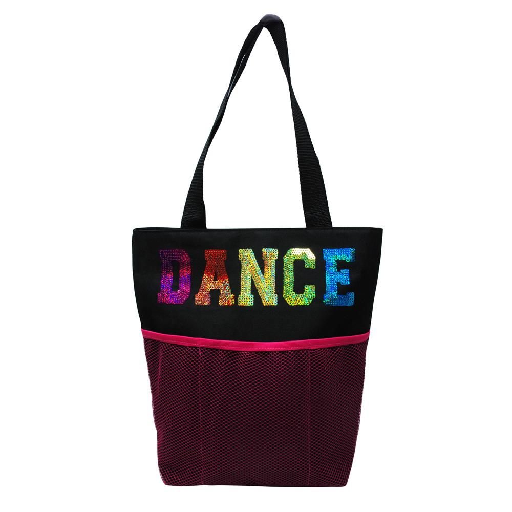 Dance Tote Bag with Mesh Pocket Black