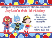 Little Heroes Personalised Invite