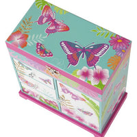 Tropical Butterfly Musical Jewellery Box - Large