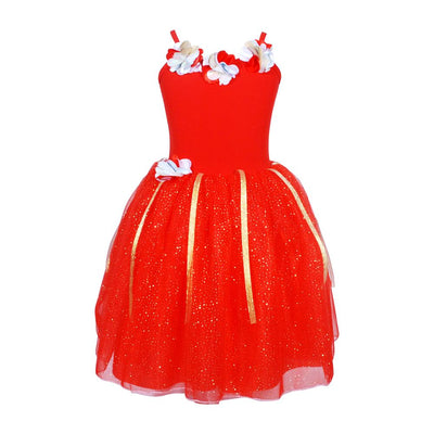 Festive Fairy Petal Red Dress