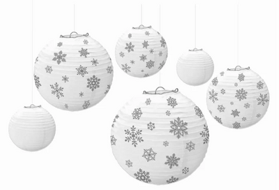 White and Silver Winter Snowflake Lanterns