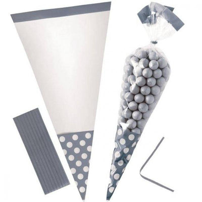 Silver Polka Dot Cone Cello Bags