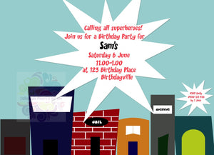 Super Hero Party Personalised Invite