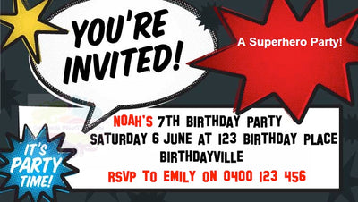 Super Hero Personalised Invite