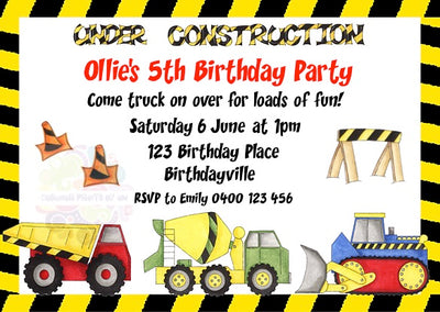 Under Construction Personalised Invitation
