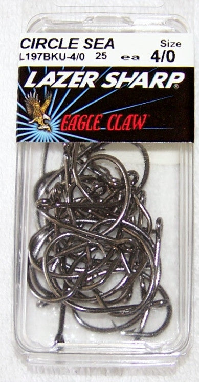 Circle Hooks-Offset Lazer Sharp 25/Pk Platinum Black L197BKU