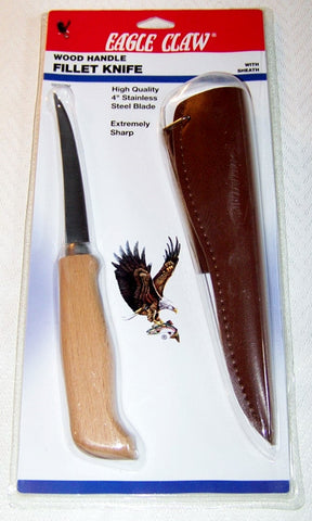 "Fillet Knife 4""  By Eagle Claw w/ Leather Sheath Wood Handle"