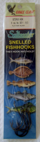 Octopus Snelled  hooks Striped Bass  Platinum Black  9211 6/pk