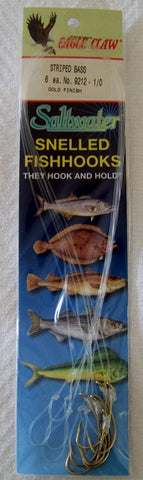 Striped Bass Baitholder Snelled  hooks Striped Bass  Gold  9212 6/pk