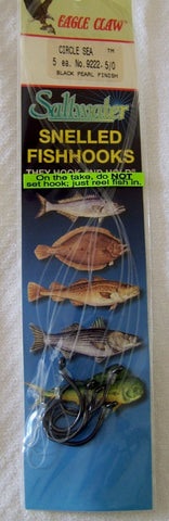 Striped Bass Circle Sea Snelled  hooks  Plat Black  9222  5/pk