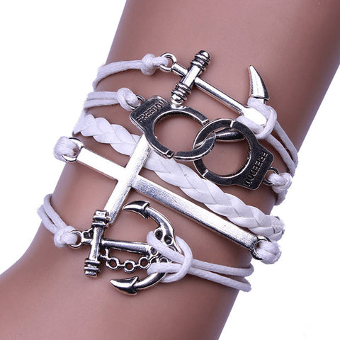 Image of Handmade Adjustable Vintage Cross Bracelet and Wristband