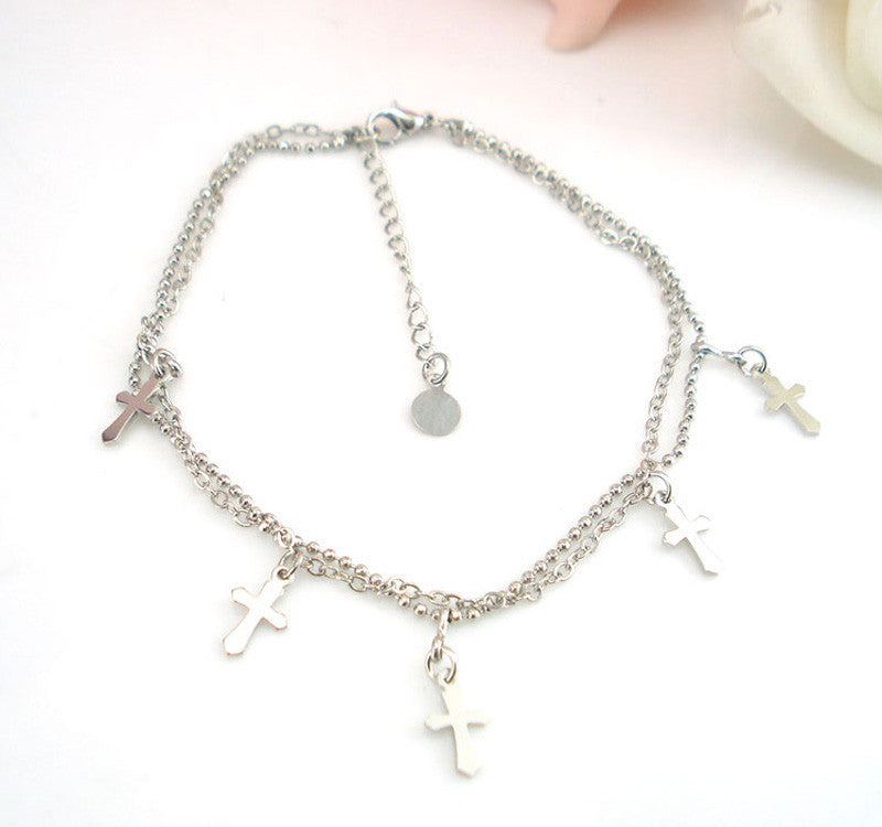 Double-strand Cross Women Chain Anklet Bracelet