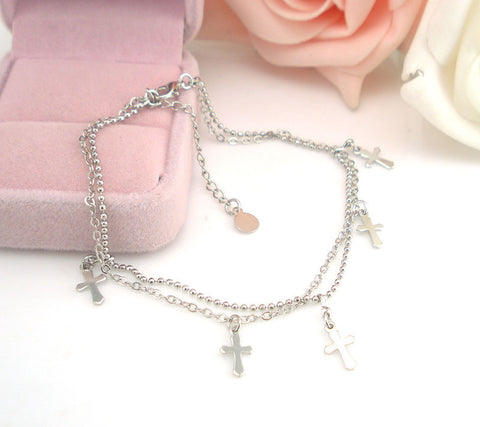 Image of Double-strand Cross Women Chain Anklet Bracelet