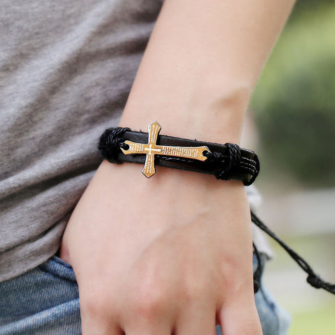 Image of Cross Multilayer Leather Chain Charms Bracelet