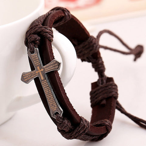 Cross Multilayer Leather Chain Charms Bracelet