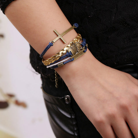 Image of Elephant Cross Knit Gold Leather Chain Charms Bracelet