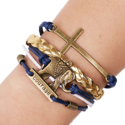 Elephant Cross Knit Gold Leather Chain Charms Bracelet