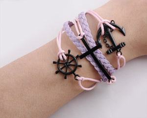 Handmade Rudder Cross Rope Jewelry Bracelet