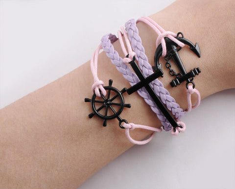 Image of Handmade Rudder Cross Rope Jewelry Bracelet