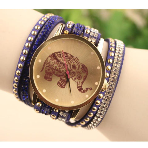Velvet  Bracelet Watch with Elephant Pattern