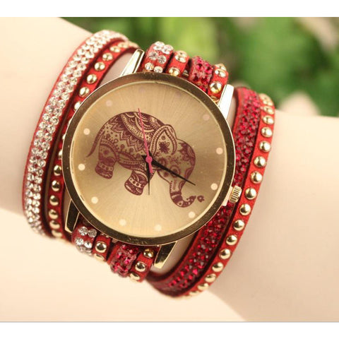 Image of Velvet  Bracelet Watch with Elephant Pattern