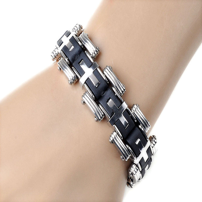 Men Silver Cross Stainles Steel Black Rubber Bracelet