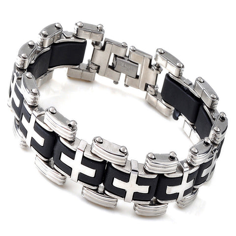 Image of Men Silver Cross Stainles Steel Black Rubber Bracelet