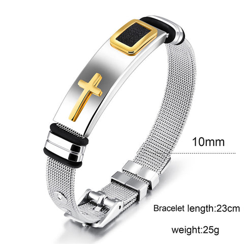 Image of Fashion Cross Bracelets for Men Stainless Steel Bracelets