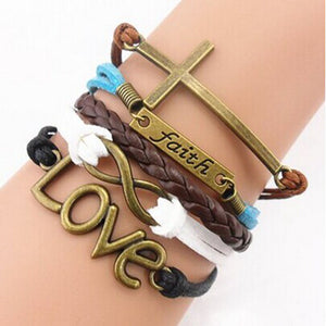 Handmade Adjustable Cross Faith Heart Love Multilayer Bracelet