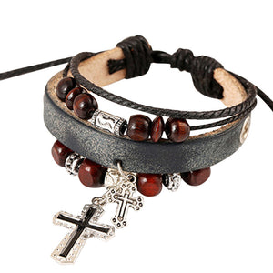 Fashion Women Cross Multilayer Handmade Wristband and Bracelet