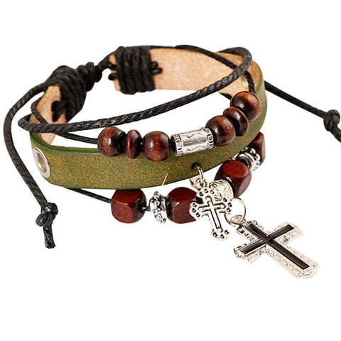 Image of Fashion Women Cross Multilayer Handmade Wristband and Bracelet