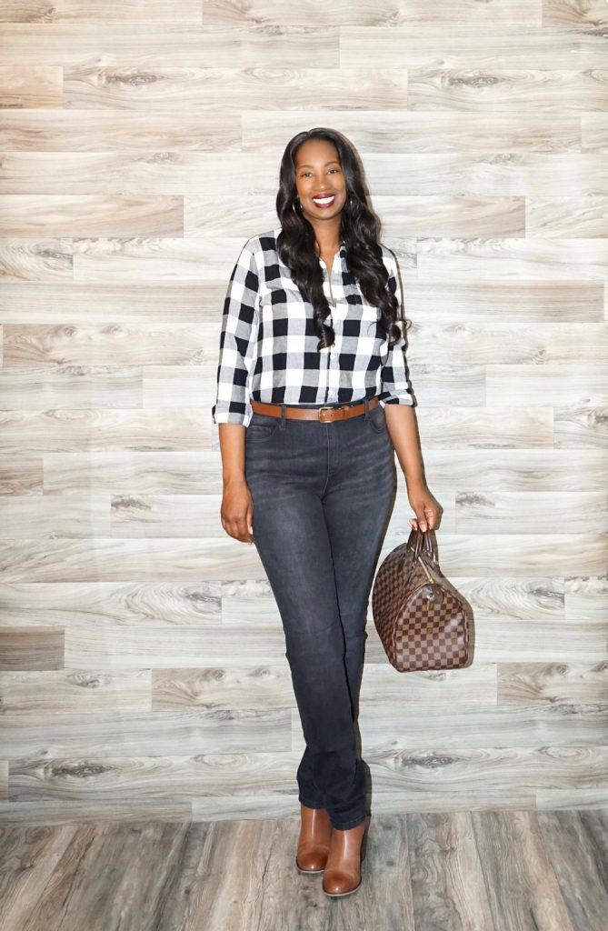 Tanasha from Pretty Tall Style wearing the Amalli Talli Blakely Skinny Jeans in Smokey Black Wash