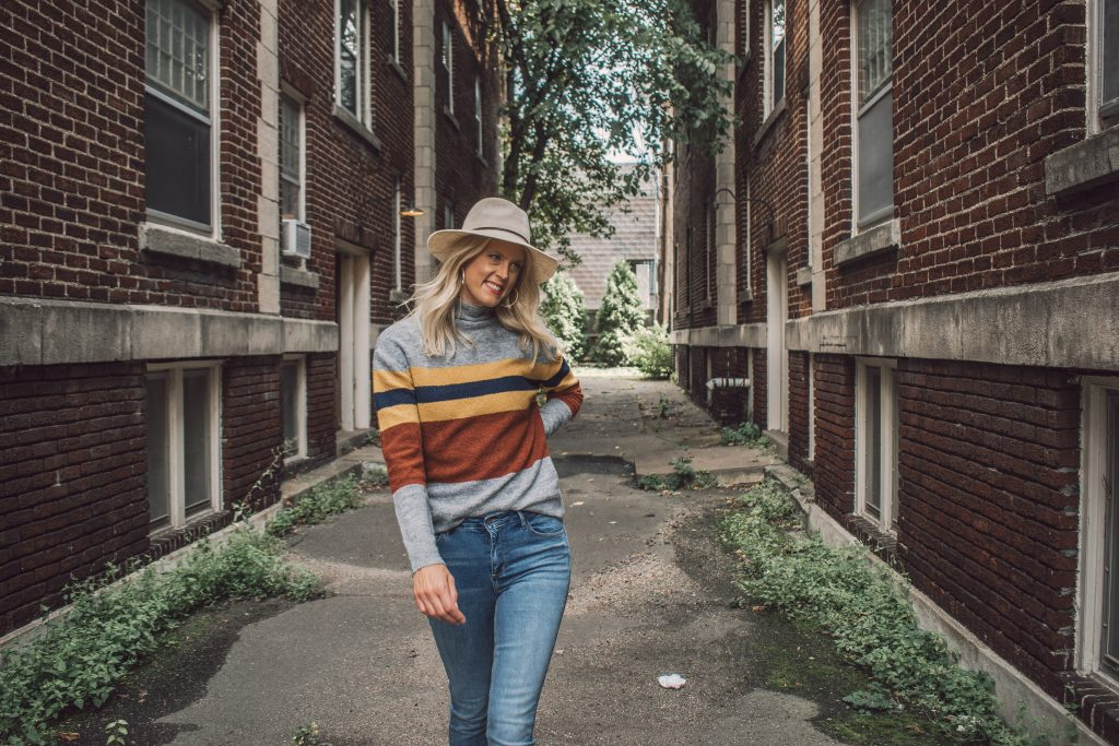 A fashionable striped sweater made specifically for tall ladies.