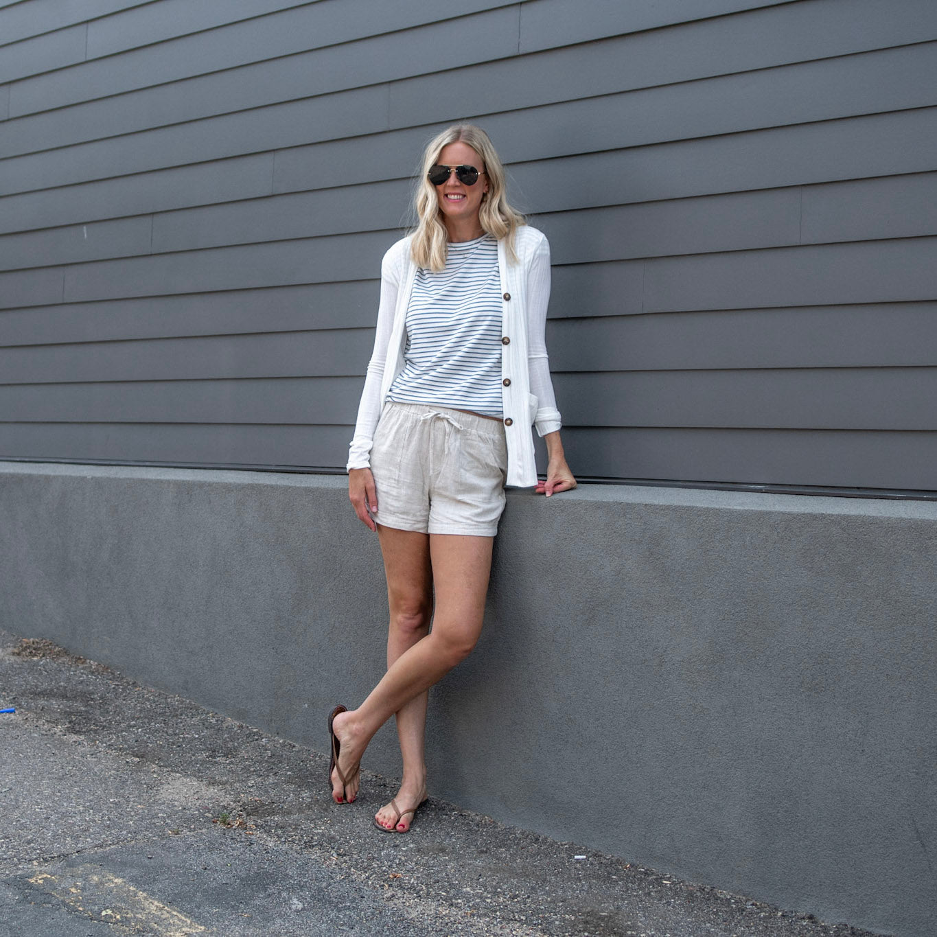 Striped tall tee paired with a tall cardigan and linen shorts for tall girls- Amalli Talli