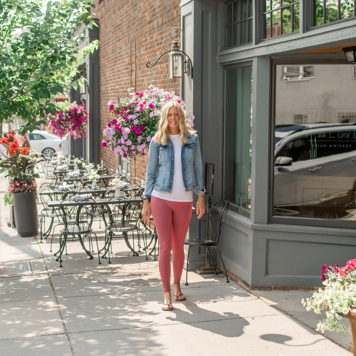 Leggings for tall girls with a tall tee and tall denim jacket- Amalli Talli