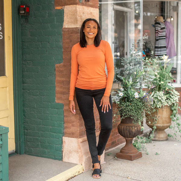 Burnt orange tall ribbed long sleeve with black button fly jeans for tall girls- Amalli Talli