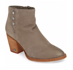 Sam Edelman Mariella Bootie in Flint Grey Nuback Leather