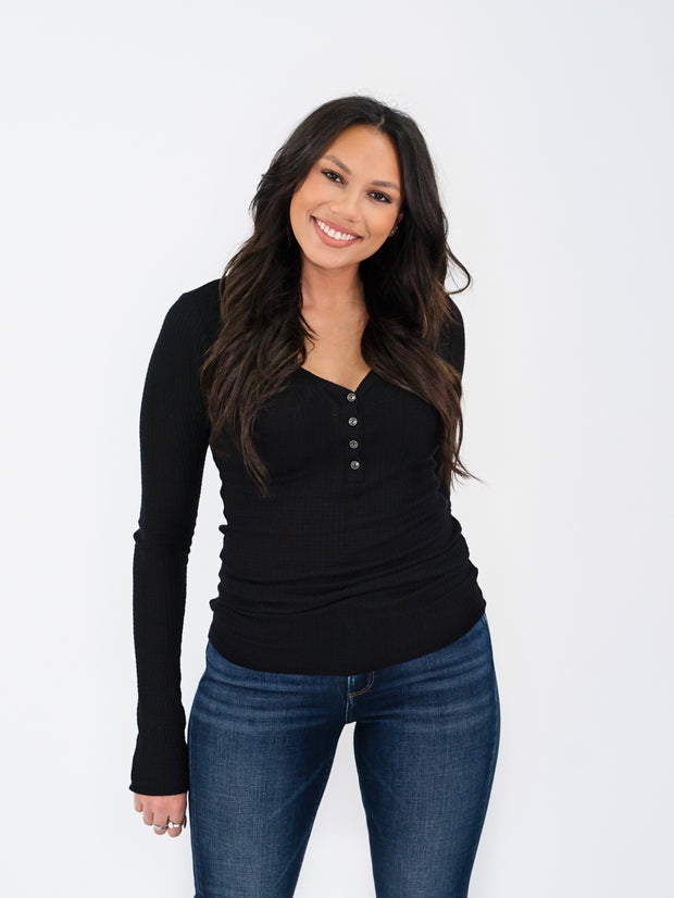 Long Sleeve Tall Henley - Black