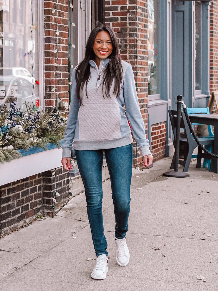 Grey Quilted Pullover for Tall Women
